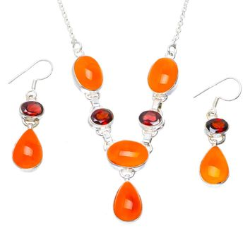 """Natural Carnelian and Garnet 925 Sterling Silver Jewelry Set Necklace 17.25"""" Earrings 1.75"""" A3568"""