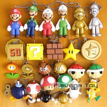 Super Mario party nes switch  Brothers  Luigi Toad Goomba Piranha plant Koopa Bullet Bill Blooper PVC Figures Toys with Keychain 25pcs/set AT_80_8