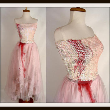FAIRY VAMPIRE PRINCESS Pink Sequins Blood Trickle Zombie Prom Dress Halloween Costume Size 2 xs