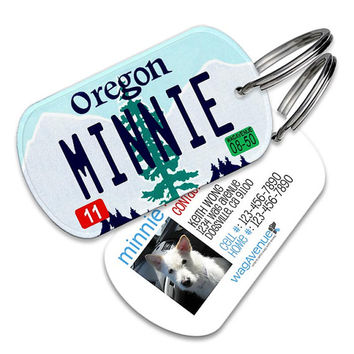 Oregon License Plate Pet Tag - Personalized Pet ID Tags, Custom Dog Tags, Cat ID Tag, Dog Name Tags, Dog Tags for Dogs, Dog License Tags
