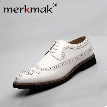 2017 Genuine leather Oxford shoes for men dress business shoes flats cut-outs brogues leather platform vintage men flat shoes