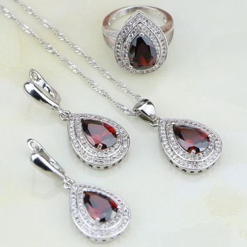 Water Drop Red Garnet Cubic Zirconia White CZ 925 Silver Jewelry For Women Wedding Jewelry Sets Earring/Pendant/Necklace/Ring