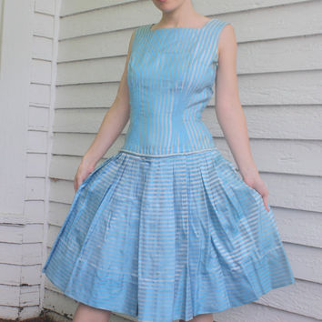 60s Blue Striped Party Dress Vintage 1960s Sleeveless XS 24 Waist