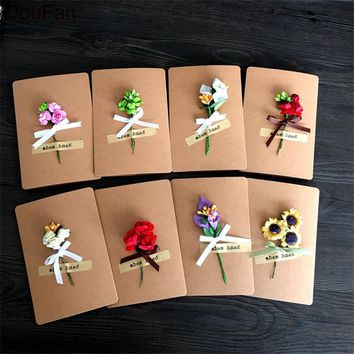 DouFan 1PC Folding Paper Card with Artificial Flower Decored Happy Birthday Greeting Card Thanksgiving Mother's Day Postcard