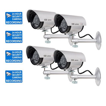 WALI Bullet Dummy Fake Surveillance Security CCTV Dome Camera Indoor Outdoor with Record LED Light + Warning Security Alert Sticker Decals WL-TC-S4, 4 Pack
