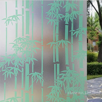 "45*100cm 17.7""*39.4"" Home Decor Opaque Privacy Self-adhesive Glass Window Film PVC Frosted Window Stickers Bamboo Pattern ST030"