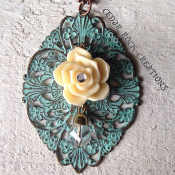 Filigree with Ivory Rose Necklace