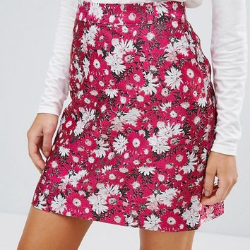 Warehouse Aster Jacquard Floral Skirt at asos.com