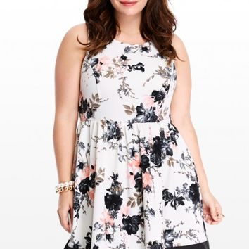 Plus Size Marigold Floral Flare Dress | Fashion To Figure