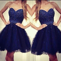2016 New Royal Blue Ball Gown Short Prom Dresses Sweetheart Bling Beaded Lace Tulle Princess Mini Grils Cocktail Party Dresses