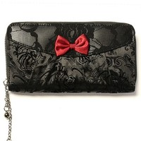 Jet Black and Red Bow Wallet - Accessories