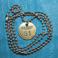 Handmade Necklace Vintage Brass KC Tool Tag Pendant on Ball Chain