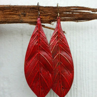 Red Large leaf brass Earrings, nature lover jewelry.