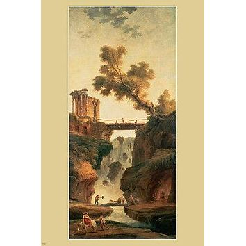 HUBERT ROBERT landscape with a waterfall FINE ART PAINTING POSTER 24X36