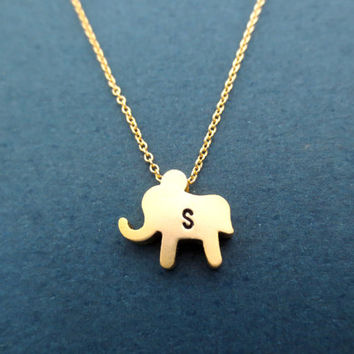 Cute, Elephant, Initial, Personalized, Gold, Necklace