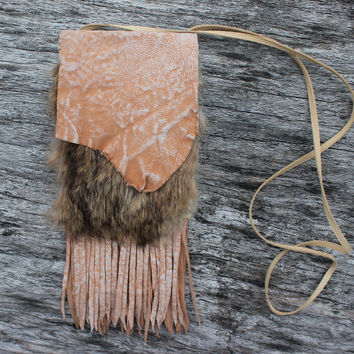 Rabbit Fur Medicine Bag with Distress Creamy Colored Goat Leather, Fringed Necklace Pouch