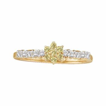 10kt Yellow Gold Women's Round Yellow Color Enhanced Diamond Flower Cluster Ring 1-3 Cttw - FREE Shipping (USA/CAN)