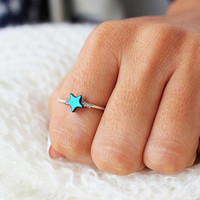 You are my Star Ring - Stacked Rings - Silver Ring - Gemstone Ring - Adjustable Ring Gift Idea Christmas gift for her  Bestfriend Gift  Sis