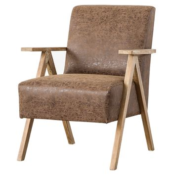 Spencer PU Leather Arm Chair Nubuck Chocolate