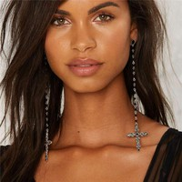 KOMi New Retro Gothic Sexy Silver Long Oversized Cross Dangle Earrings Statement Beaded Large Cross Earrings For Women O-519