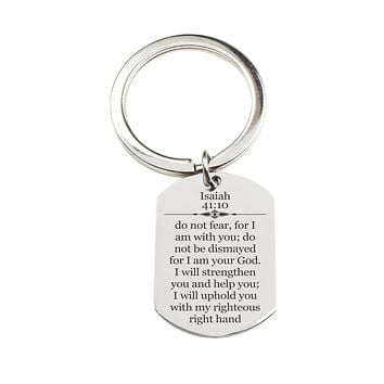 Stainless Steel Scripture Tag Keychain - Isaiah 41:10