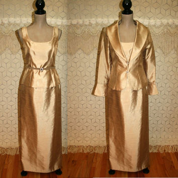 Vintage Formal Dress Gold Satin Evening Dress Mother of the Bride Dress Small Size 4 Dress Davids Bridal Womens Dresses Vintage Clothing