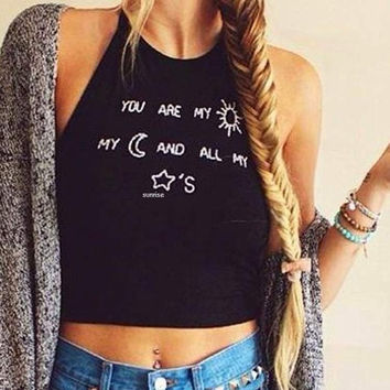 Women Sleeveless Crop Tops Halter Tank Tops Vest T-Shirt Camisole Summer  Sunrise = 5658682817
