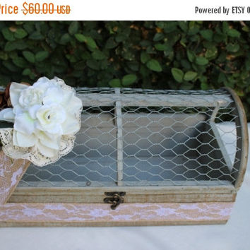 ON SALE Wedding Card Box / Rustic Wedding  Chicken Wire Card Holder Box / Distressed Shabby Wedding Decor Box/ Can Be Customized