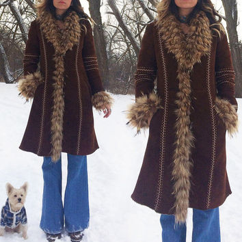 Vintage 1970's Italian PENNY LANE Afghan Suede And Shearling Native Boho Hippie Coat || Size 4 to 6 || Size Small Medium