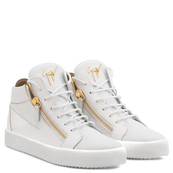 Giuseppe Zanotti Gz Kriss White Calfskin Sneaker With Patent Leather Insert