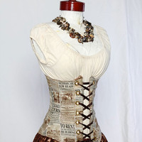 Newspaper Print Wench Corset - damselinthisdress