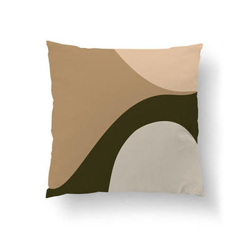 Green Beige, Shades of Beige, Simple Art, Decorative Pillow, Textured Watercolor, Throw Pillow, Home Decor, Cushion Cover, Geometric Shapes