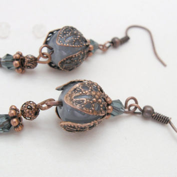Gray bells - vintage copper earrings with filigree flower bells and gray beads