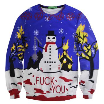 Alisister Funny Frosty The Angry Snowman Sweatshirt Printed men/women Crewneck Christmas Sweat Shirt Clothing 3d Graphics Hoodie