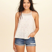 Girls Lace High-Neck Tank | Girls New Arrivals | HollisterCo.com