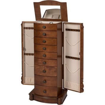 Armoire Jewelry Cabinet Box Storage Chest Stand Organizer Necklace Wood Walnut