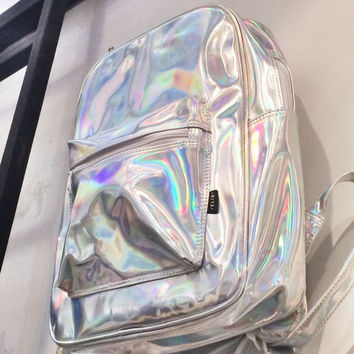 Holographic Backpack Silver Hologram Rucksack Travel Fitness School Bag