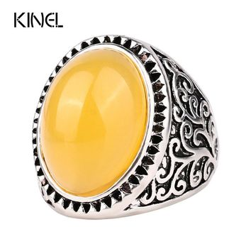 Yellow Lmitation  Antique Engagement Rings For Women Color Silver Party Love Ring Vintage Jewelry