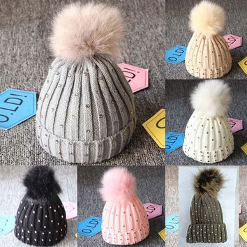 Newborn Kids Baby  Pom Hat Winter Warm Crochet Knit Bobble Beanie Cap