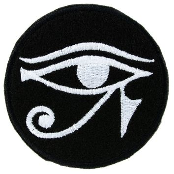 White Egyptian God Eye of Ra Horus Patch Iron on Applique Alternative Clothing