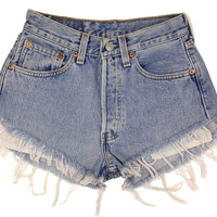 Levi's 501 Denim Vintage High Waisted Shorts Pants - Distressed and Frayed Blue Denim