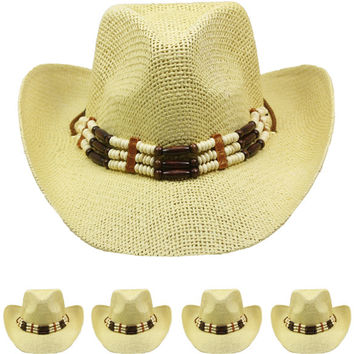 tan color western hat with beaded band Case of 72