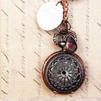 Dreamcatcher - a rose gold pocket watch necklace