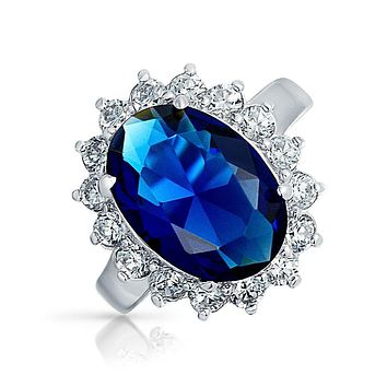 6CT Blue Oval Simulated Sapphire CZ Engagement Ring Sterling Silver