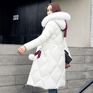 2017 Long Parkas Female Women Winter Coat Snow wear Coats  Nagymaros fur collar down Thicken Winter Jacket Womens Outwear Women