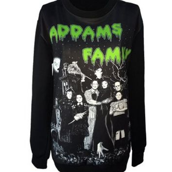 Gothic Clothing Sweatshirts Adam Family Hoodies Pullovers Sweater For Women