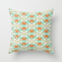 Moorish Teal Terracotta Throw Pillow by Ally Coxon | Society6
