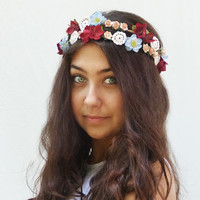 Vintage Flower Crown - Pink and Red Floral Crown, Womans Hair Accessories, Bridal, Boho, Lace and Flower Crown