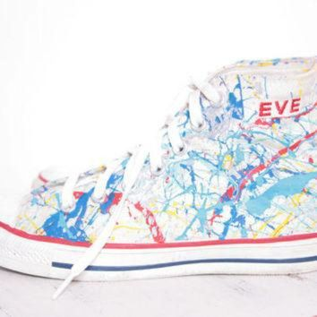 DCKL9 Custom Made Splatter Painted Vintage 'EVE' HighTop Converse Sneakers Size 5 1/2