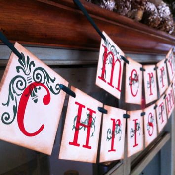 Christmas Decorations Merry Christmas Banner Garland Christmas Banner Red and Green Christmas Garland